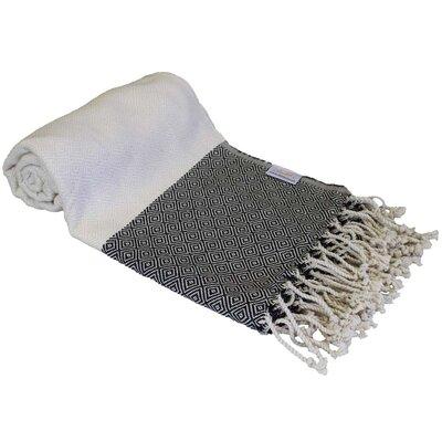 Diamond Turkish Bamboo Beach Towel Color: Black/Beige
