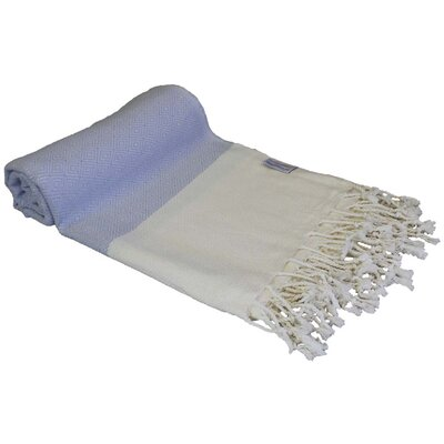 Diamond Turkish Bamboo Beach Towel Color: Blue Bell/White