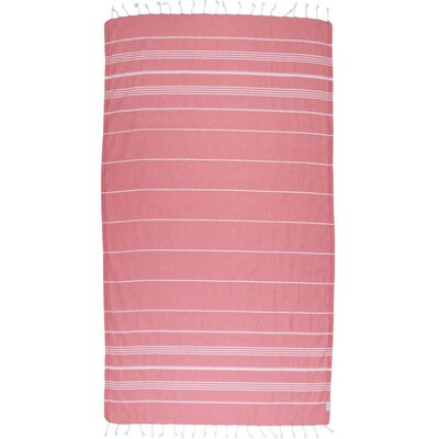 Classic Turkish 100% Cotton Beach Towel Color: Salmon