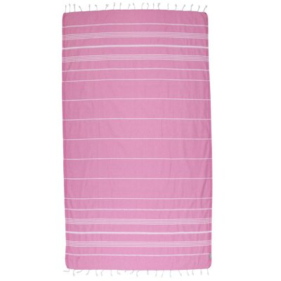 Classic Turkish 100% Cotton Beach Towel Color: Pink