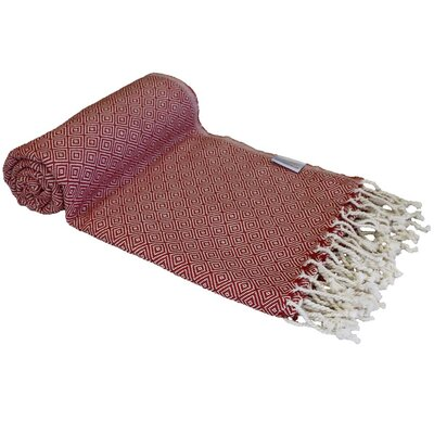 Diamond Turkish Beach Towel Color: Red