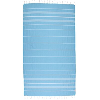 Classic Turkish 100% Cotton Beach Towel Color: Turquoise