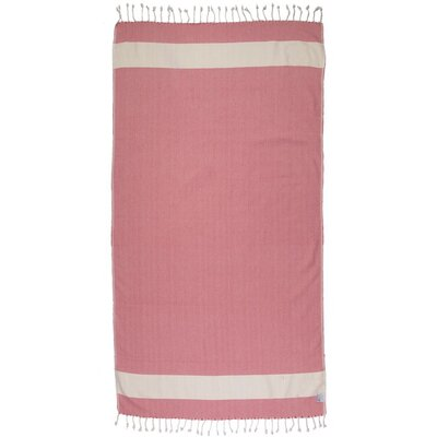 Zigzag Pattern Turkish 100% Cotton Beach Towel Color: Violet Red