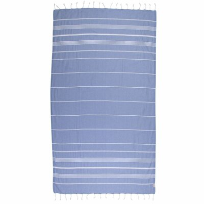 Classic Turkish 100% Cotton Beach Towel Color: Gray Blue