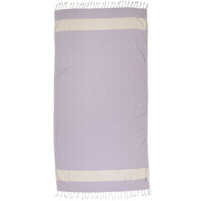 Zigzag Pattern Turkish 100% Cotton Beach Towel Color: Purple