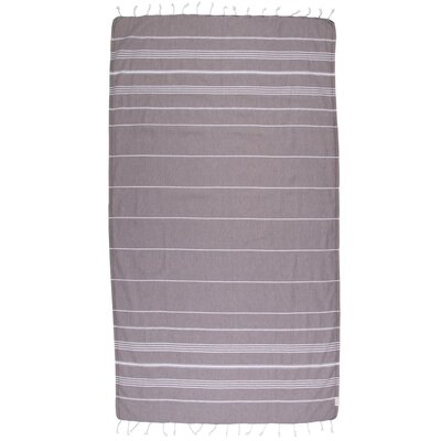 Classic Turkish 100% Cotton Beach Towel Color: Dark Brown