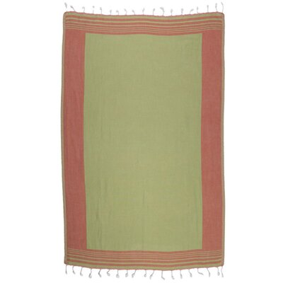 Double Face Turkish 100% Cotton Beach Towel Color: Brick Red/Green