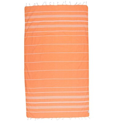 Classic Turkish 100% Cotton Beach Towel Color: Orange