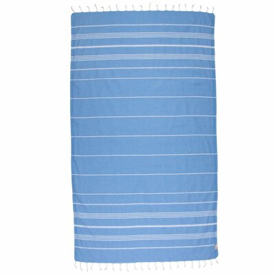 Classic Turkish 100% Cotton Beach Towel Color: Blue