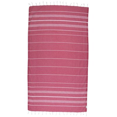 Classic Turkish 100% Cotton Beach Towel Color: Dark Red