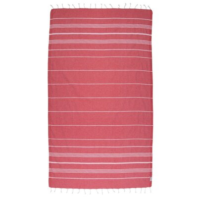Classic Turkish 100% Cotton Beach Towel Color: Red