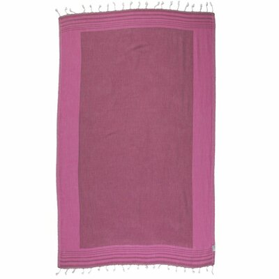 Double Face Turkish 100% Cotton Beach Towel Color: Burgundy/Pink