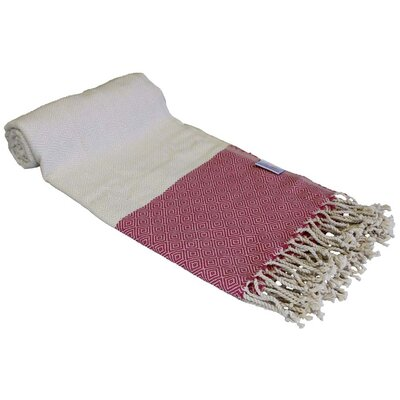 Diamond Turkish Rayon from Bamboo Beach Towel Color: Pink/Beige