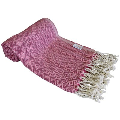 Diamond Turkish Beach Towel Color: Pink