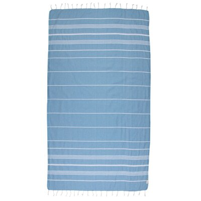 Classic Turkish 100% Cotton Beach Towel Color: Aegean Blue