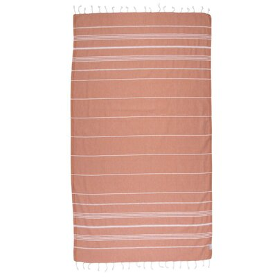 Classic Turkish 100% Cotton Beach Towel Color: Red/Brown