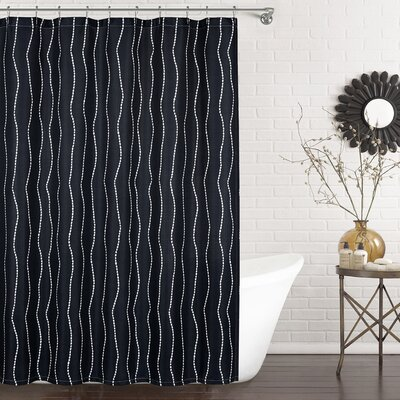 Meera Shower Curtain Color: Navy