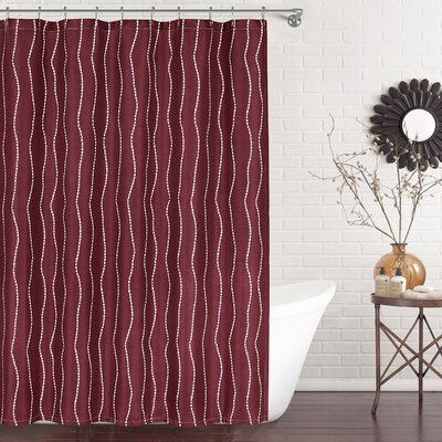 Meera Shower Curtain Color: Burgundy