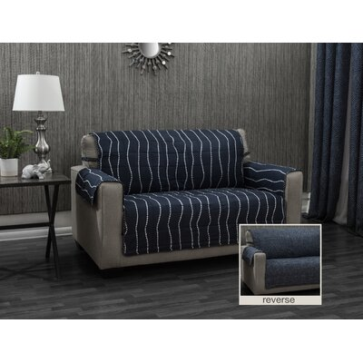 Ron Chereskin Pearls Microfiber/Polyester Sofa Slipcovers Upholstery: Navy