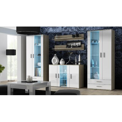 Keegan 5 Piece Sideboard Color: Sonoma Oak/White Gloss