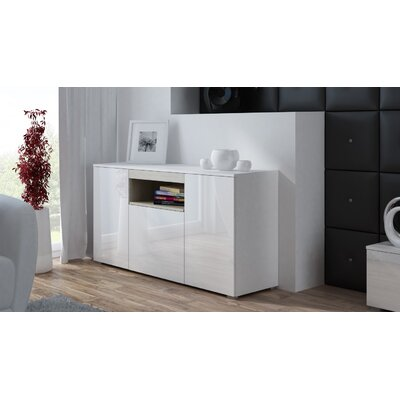 Finley Sonoma Oak Sideboard Color: White Gloss/Sonoma Oak