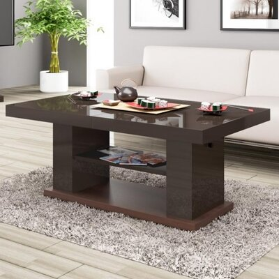 Sasha Lift Top Coffee Table Color: Brown Gloss