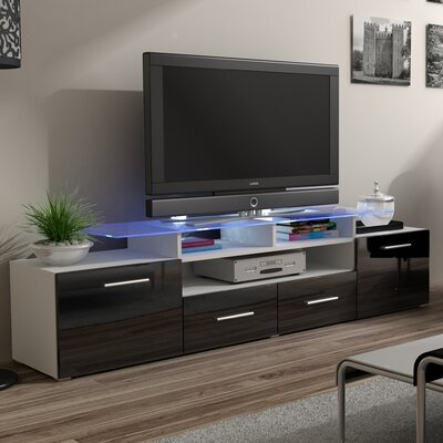 Damian 76 TV Stand Color: Black