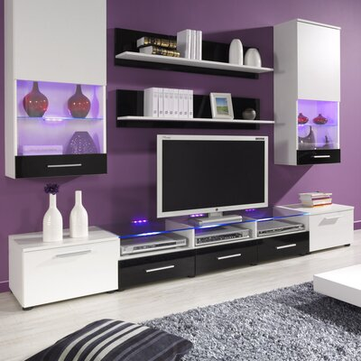 Maulik Entertainment Center Color: White/Black