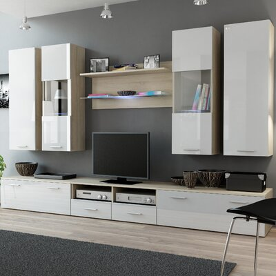 Cosmo Entertainment Center Color: Sonoma Oak/White Gloss