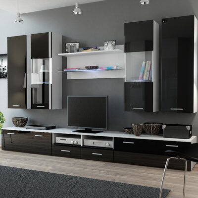 Cosmo Entertainment Center Color: White/Black Gloss
