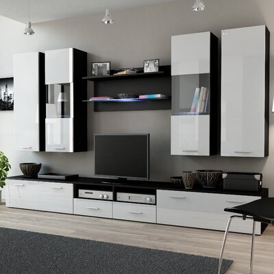 Cosmo Entertainment Center Color: Black/White Gloss