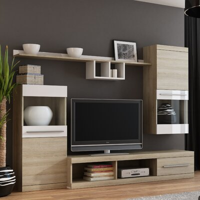 Boley Entertainment Center Color: Sonoma Oak/White Gloss