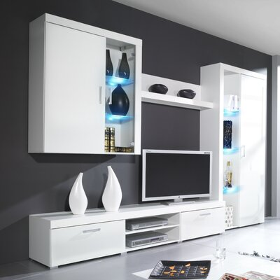 Halle Entertainment Center Color: White Gloss