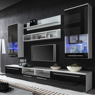 Jorah Entertainment Center Color: White/Black Gloss