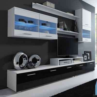 Andrea Entertainment Center Color: White/Black and White