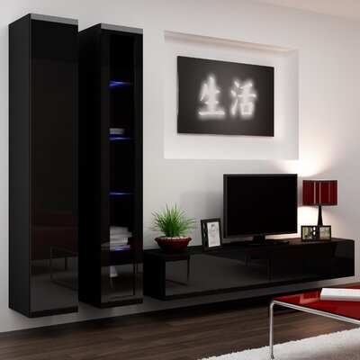 Masie Entertainment Center Color: Black Gloss
