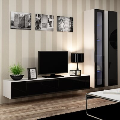 Masie Entertainment Center Color: White/Black Gloss