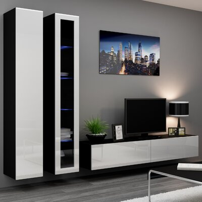 Masie Entertainment Center Color: Black/White Gloss