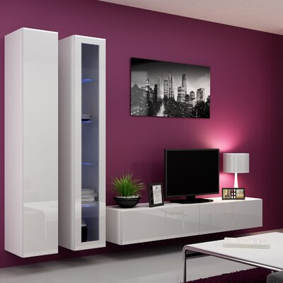 Masie Entertainment Center Color: White Gloss