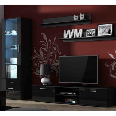 Keegan Entertainment Center Color: Black Gloss