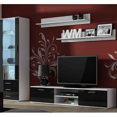 Keegan Entertainment Center Color: White/Black Gloss