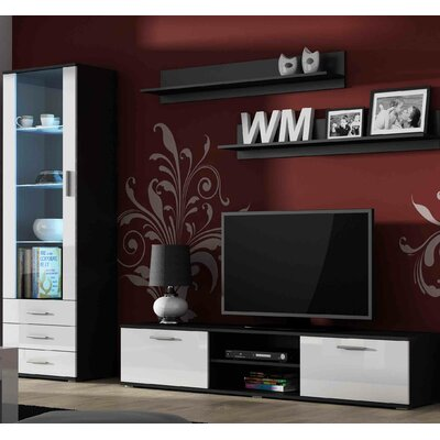 Keegan Entertainment Center Color: Black/White Gloss
