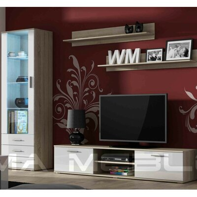 Keegan Entertainment Center Color: Sonoma Oak/White Gloss