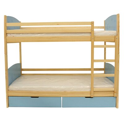 Cori Bunk Toddler Bed Bed Frame Finish: Natural/Blue