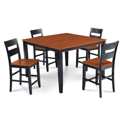Charlestown 5 Piece Wood Counter Height Dining Set Finish: Black