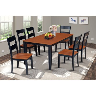 Charlestown 7 Piece Hardwood Dining Set Finish: Black