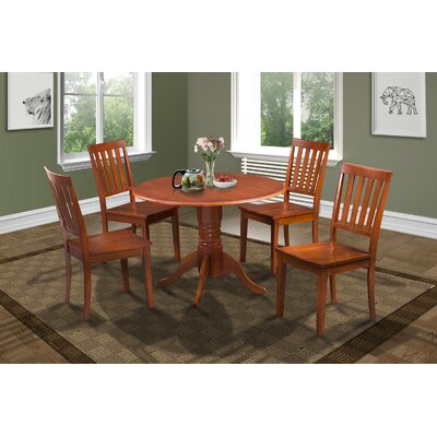 Chesterton Transitional 5 Piece Wood Dining Set Finish: Saddle Brown