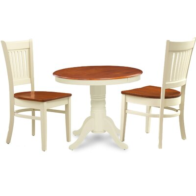 Cedarville 3 Piece Wood Dining Set Finish: Buttermilk/Cherry