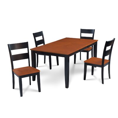 Charlestown 5 Piece Hardwood Dining Set Finish: Black