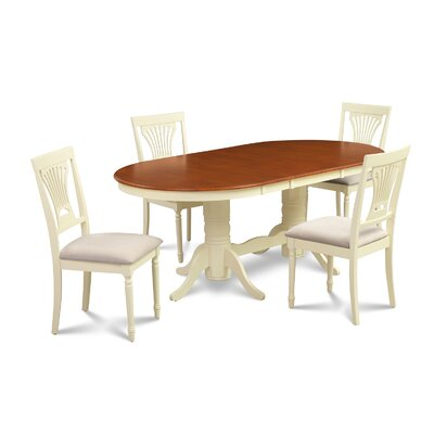 Lunde 5 Piece Dining Set Finish: Buttermilk/Cherry
